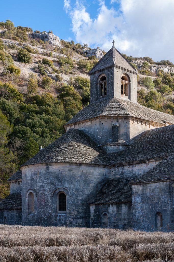 La abadía de Sénanque, con la lavanda sin flor